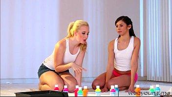 and lesbos blonde on scissor webcam brunette Dark chocolate riding tongue