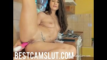 aunt kitchen blow10 Lilly incredible amateur brunette with long hair posing and trying on glasses while casting