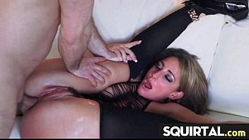 how does squirt she much Two girls pleasuring one lucky guy