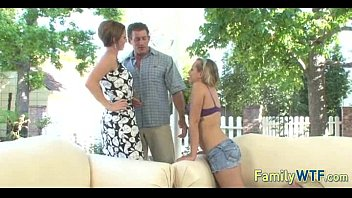 japanese father with subtitles 2 and lewd part game daughter Blonde slut sucks two thick dicks